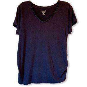 Isabel Maternity Navy T-shirt Short Sleeve V-neck